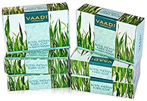 Vaadi Herbals Value Royal Indian Khus Soap with Olive and Soyabean Oil, 75gms x 6