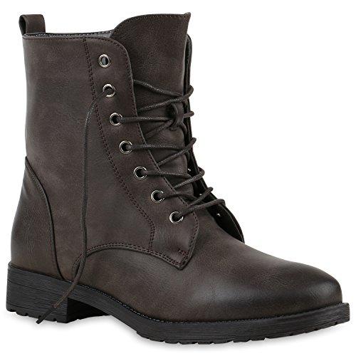 Damen Schnürstiefeletten Boots Camouflage Stiefeletten Leder-Optik Schnür Übergrößen Schuhe 121105 Dunkelbraun Grau 42 Flandell