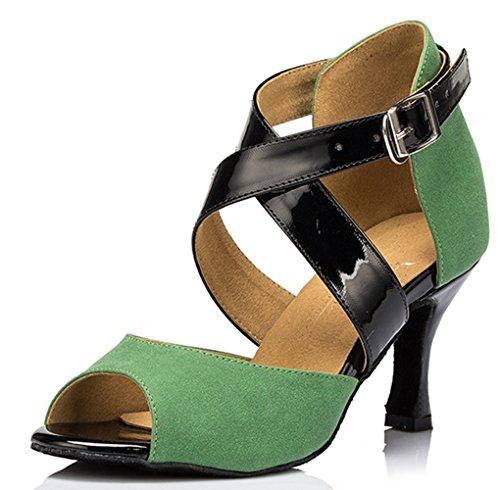 Damen Ankle Minitoo Wrap Satin Salsa Ballroom Samba Tango Tanzschuhe Latein Grün