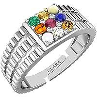 Clara 925 Sterling Silver Natural Certified Navaratna Stone Original 9 gems Adjustable Ring for Men and Boys