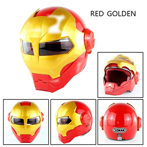 Super Persönlichkeit Motorrad Helm - Retro-Stil Harley Transformers Gesicht Helm - D.O.T Zertifiziert Modularen Integrated Helmet - Iron Man Transformers Maske-Herren Damen MännerRed Gold-M -