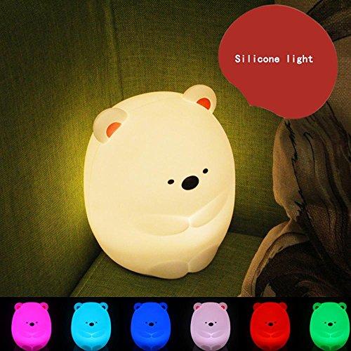 Coloré Ours muet Gel de silice Veilleuse Mignon et créatif Charge Tapoté Lampe de décompression Chambre à coucher Mini lumières