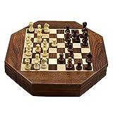 Schachbrett Holz - Magnetisch Schach Set - Handgefertigte Schachfiguren - Reisen-Brettspiel 22,5 Cm