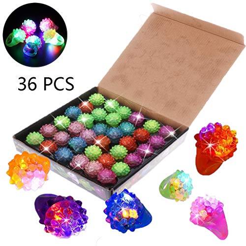 Balain 36pcs Kinder LED Leuchten Spielzeug Bumpy Ringe Party blinkendes Glow Jelly Blinking Bulk