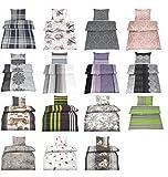 Baumwolle Biber Bettwäsche mit Reißverschluss in verschiedenen Größen und 15 Designs - 4 tlg. Set 2x 135x200 + 2x 80x80 cm Biber Bettwäsche - Rosa