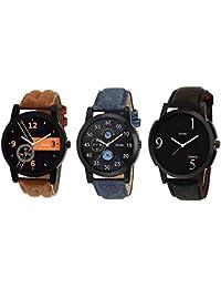 Shree Shree Group Analogue Black, Blue Dial Men's Combo Of 3 Watch -889900