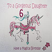 WHITE COTTON CARDS To A Gorgeous Daughter Age 6 Have A Magical, Handmade 6th Birthday Card (Pink, Carousel)