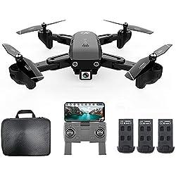 Goolsky CSJ S166GPS Drone avec Caméra 1080P/720P Retour Automatique Accueil WiFi FPV Vidéo en Direct Geste Photos avec 1/2/3 Batterie(Facultatif ) Quadricoptère RC pour Adultes (1080P & 3 Batteries)