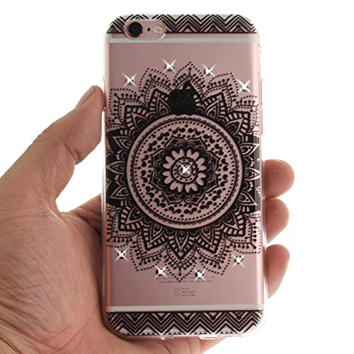 iPhone 6 Plus/6S Plus Coque, Voguecase (Diamant bling)TPU avec Absorption de Choc, Etui Silicone Souple Transparent, Légère / Ajustement Parfait Coque Shell Housse Cover pour Apple iPhone 6 Plus/6S Pl creux cercle 01/noir