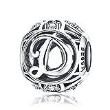100% echtes 925 Sterling Silber Vintage A bis Z klare CZ Alphabet Buchstaben Beads für Pandora Charm-Armbänder, Armreifen und Halsketten (Buchstaben D)