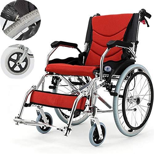 BUDAOWENG Sedia a rotelle Professionale di sanità piegante,Sedia a rotelle azionata da Un Assistente, Sedia Portatile di Viaggio di transito, Sedia a rotelle di Alluminio di Kai Yang con,Gray