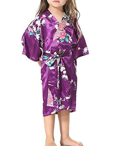 Yidarton Kinder Mädchen Morgenmantel Bademantel Nachtwäsche Kimono kurz aus Luxus Silky Satin mit Peacock und Blüten Blumenmuster Abend Robe (8 / 100-110 CM, Lila)