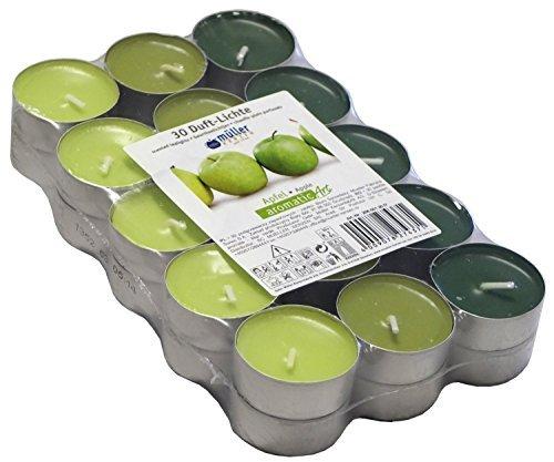 30-farbig-sortierte-duft-teelichte-4-std-brennd-duft-grner-apfel-markenware-von-mller-kerzen