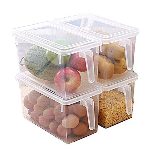 minespace Kunststoff Aufbewahrungsbehälter quadratische Griff Lebensmittel Aufbewahrung Organizer Boxen mit Deckel für Kühlschrank Kühlschrank Schrank Schreibtisch (Set von 4Pack, großes Organizer Eimer) (Tisch Kühlschrank Prep)