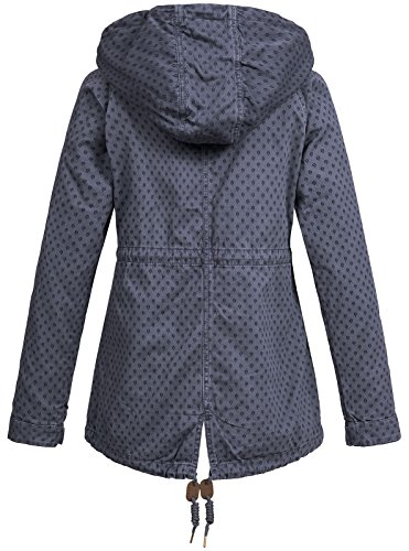 Urban Surface Damen 2 in 1 Jacke Parka LUS-113 Kapuze Alloverprint Dark Blue
