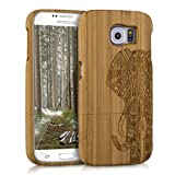 kwmobile Custodia in legno per Samsung Galaxy S6 / S6 Duos Cover legno naturale bambù Design motivo elefante - Case rigida per cellulare Design motivo elefante marrone chiaro
