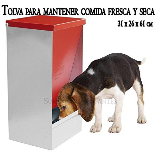 TOLVA COMEDERO para almacenar comida FRESCA y SECA. 31 x 26 x 61 cm. Diseñada para perros, gatos y otras mascotas. Permite almacenar y dispensar desde su reserva la comida seca y fresca según se va consumiendo. Su exclusivo diseño permite que el alimento nunca este expuesto al aire o al agua.