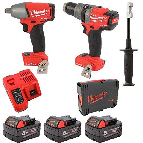 18 ONEPD + M18 ONEIWF12 + 3x 5,0 Ah Akku + M12-18FC + HD-Box (Milwaukee Fuel M18-tools)