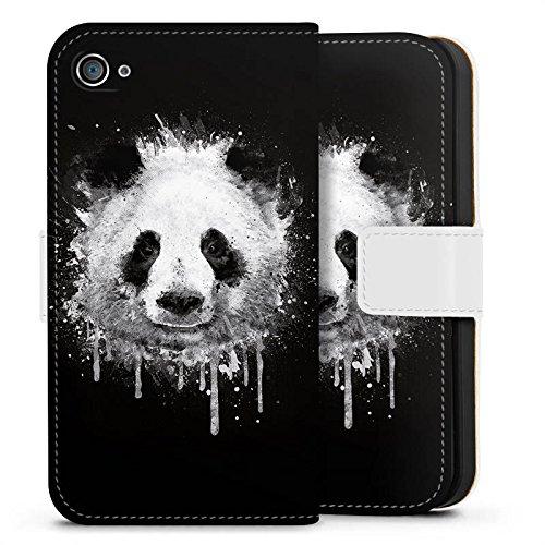 Apple iPhone 8 Plus Hülle Case Handyhülle Panda Bär Grafitti Sideflip Tasche weiß