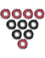 eBoot 10 Piezas Rodamientos de Skate 608 2RS Cojinetes de Patines de Rueda y Longboard, Doble Blindado, Rojo y Negro