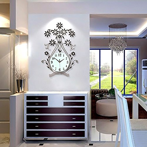 Sunjun Große Uhr Wohnzimmer Wanduhr moderne kreative einfache Tabelle Hängen Pastoral Europäische Uhr Schlafzimmer Stumm-Quarz-Taktgeber Persönlichkeit ( Farbe : Schwarz ) -