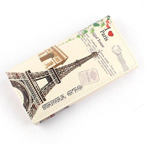 Vovotrade Donne borsa della frizione Portafoglio Borsa del supporto di carta (Torre Fiore modello) Amore Torre del modello