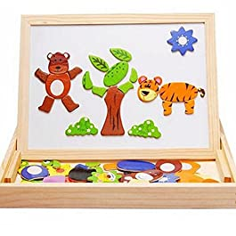Lychee Learning & Giocattoli educativi Doppia Lato tavola di Legno Animali magnetici Puzzle Scrittura Multifunzione Tavolo da Disegno per i Bambini