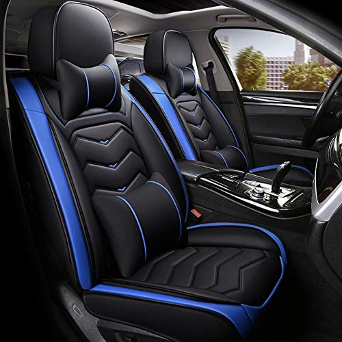 GQCZD-11 Autositzbezug,Sitzbezügeset,Sitzauflage,Autositz, Auto-Sitzkissenbezüge, weiches bequemes Auto-Sitzpolster, 5 Sitz Seasons Universalsitzschutz Full Set (Color : Sapphire Blue)