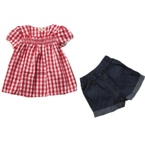 Girls Flower Plaid T-Shirts + Short Jeans Outfits Ruffled Summer Dress (Ruffled Plaid Shirt)