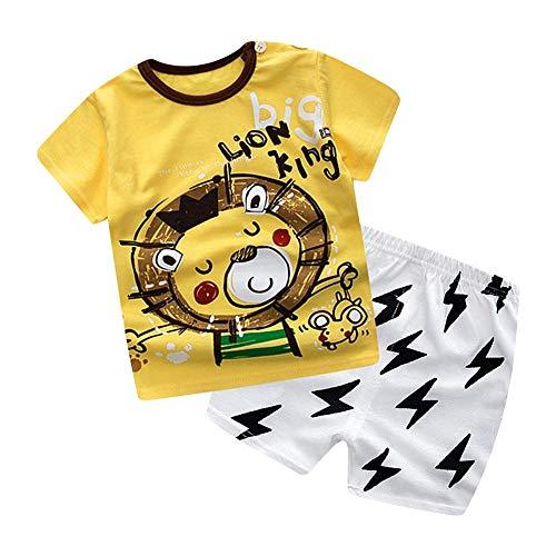 Baby Kurzarm Tee + Shorts Set Sommer Gelb Lion King Cartoon Muster Druck Kleidung für Kinder eingestellt(73)