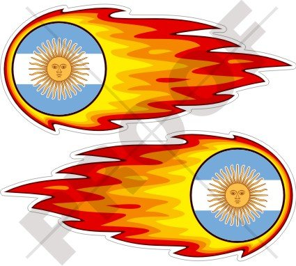 Argentinien Argentinische Flaming Fireball Fire 12,7cm (125mm) Bumper Sticker, Aufkleber Vinyl X 2
