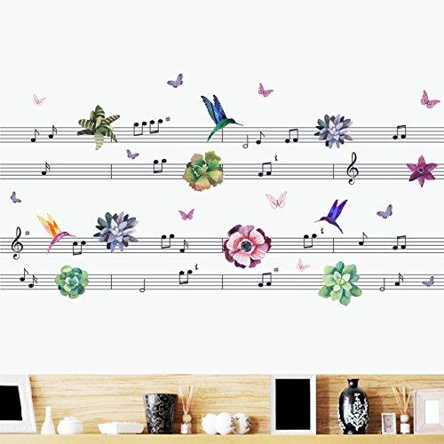 Woodland Arts 124,5x 61cm Musik Staff Blumen Vögel Schmetterlinge Wandaufkleber Aufkleber Music Notes Vinyl Wandmalereien für Schlafzimmer Musik Klassenzimmer Dekorationen Blumen