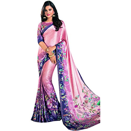 ETHNIC EMPORIUM Damen Bollywood Fomral Lässige Printed Satin Swarovski Arbeit Saree Collection Of Sari Bluse Designer Frauen 2751 43481 Wie gezeigt (Satin-sari)