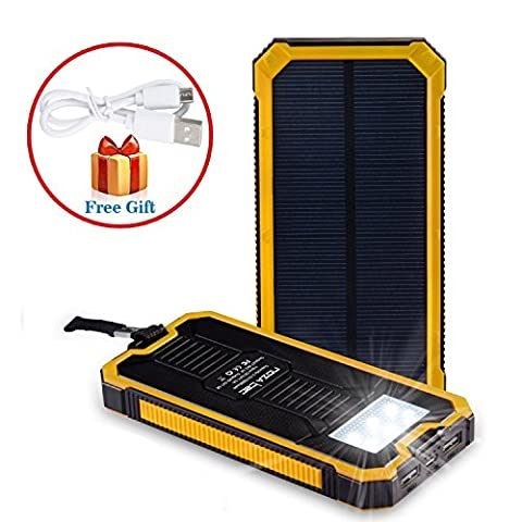 Noza Tec Solar Power Charger 15000mAh Portable Power Bank - Dual USB Output Solar Battery Charger with Carabiner LED Lights for Emergency Cell Phones Tablet Camera (Yellow)