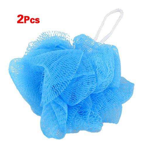 Sonline Mesh da bagno spugna molle del corpo Pouf Doccia Loop Scrubber Blu 2 pezzi