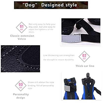 PetPi 4pcs x Paw Protector Blue Dog Shoes Waterproof + Anti-slip Rubber Sole with Reflective Velcro for Yorkshire… 6