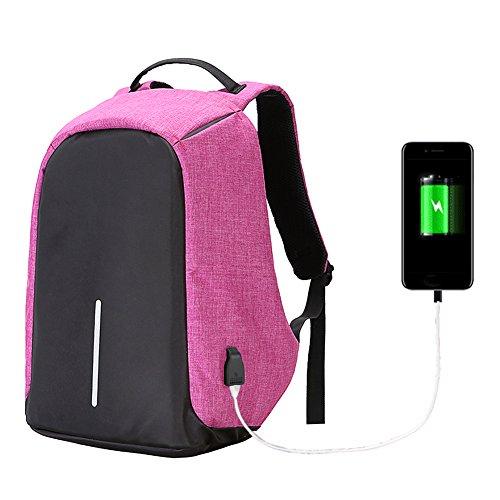 Twinkbling Antivol pour ordinateur portable Sac à dos Grande capacité décontractée Sac de voyage pour l'école avec port de chargement USB, violet