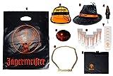 Jägermeister XXL Fan Set - Tüte + Kappe + Hut + Ausgießer + Armband + Reagenzglas + Becher + Kette + Schürze