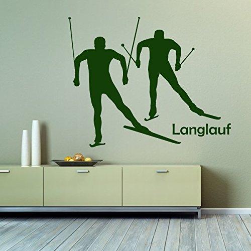 Preisvergleich Produktbild denoda® Langlauf - Wandtattoo Grün 63 x 50 cm (Wandsticker Wanddekoration Wohndeko Wohnzimmer Kinderzimmer Schlafzimmer Wand Aufkleber)