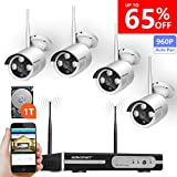 Wireless Security Camera System,Smonet 4CH HD Wireless CCTV Camera System (CCTV Kits) with 4pcs 960P Wireless Weatherproof Bullet CCTV Cameras,65ft Night Vision,Plug&Play,1TB HDD Pre-installed