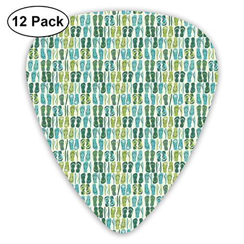 Guitar Picks - Abstract Art Colorful Designs,Funky Beach Slippers Blended Aqua And Exotic Nature Colors,Unique Guitar Gift,For Bass Electric & Acoustic Guitars-12 Pack -