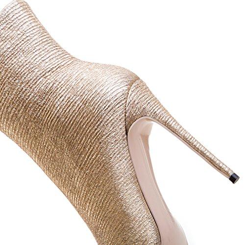 ENMAYER Femmes Chaussures sexy à talons hauts Stiletto Pointed Toe Zipper Western Style Party Dress Shoes Light Gold