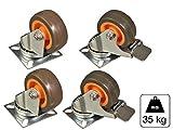 2 Lenkrolle und 2 Lenkrolle m.Feststeller TPR 50 mm max 35kg