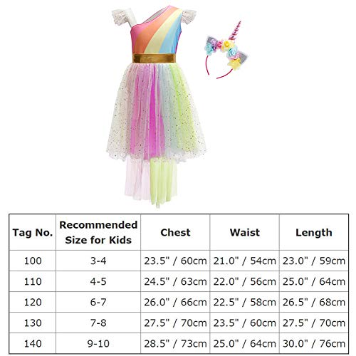 Girls Unicorn Costume Rainbow High-Low Asymmetric Dress Cosplay Party Outfit Fancy Dress up Princess Tutu Skirt for Festival Performance Birthday Pageant Carnival Halloween Photo Shoot 6-7 Years