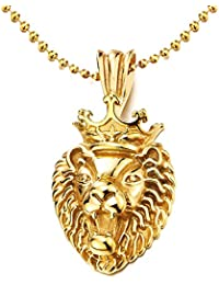 Gold Color Crown Lion King Stainless Steel Pendant Necklace for Man Women, 30 inches Ball Chain