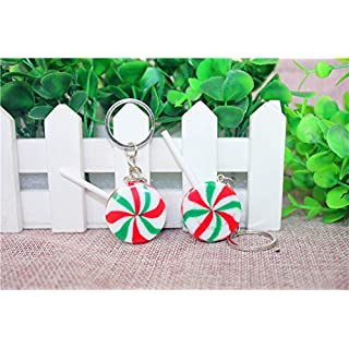 Airgoesin 20pcs Keychain Key Ring Hang Lollipop Christmas Holiday Charms for Kids Birthday Party Favors & School Carnival Prizes Gifts