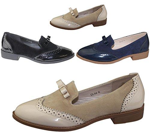Damen-Slipper mit Quaste, Lässig, Lackleder, flach, Oxford-Schuh, Loafer, Vintage-Stil, Brogue Beige