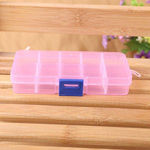 OSYARD 10 Fächer Aufbewahrungbox Kunststoff Sortierbox Nail Art Dekoration Tools Container Schmuck...