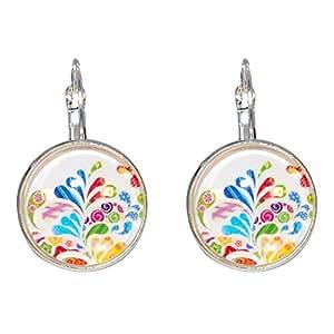Créative Perles - Boucles d'oreilles Cabochon rond Liberty graphisme multicolore - Blanc