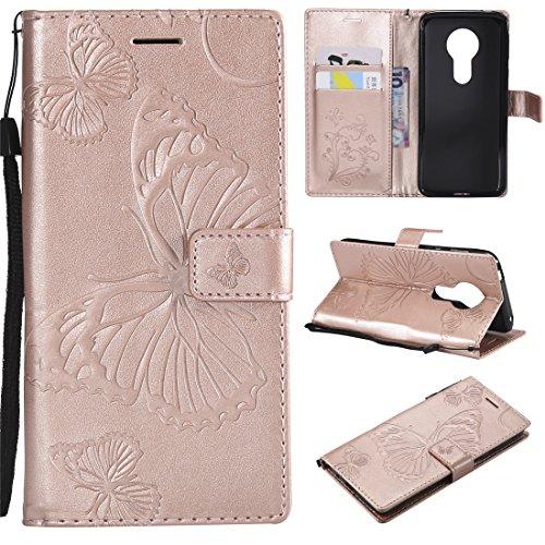 Hozor Motorola Moto E5 Handyhülle, Retro Großer Schmetterling Muster PU Kunstleder Ledercase Brieftasche Kartenfächer Schutzhülle mit Standfunktion Magnetverschluss Flip Cover Tasche, Roségold